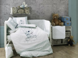 Set lenjerie de pat pentru copii, Hobby, bumbac ranforce, 100 x 150 cm, 113HBY0059, Alb/Verde