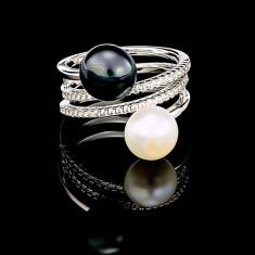 Inel din Argint 925 cu Perle Naturale si Diamante, Rachel