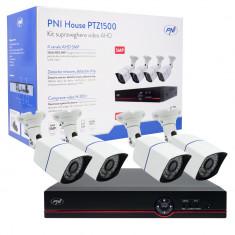 Resigilat : Kit supraveghere video AHD PNI House PTZ1500 5MP - DVR si 4 camere ext