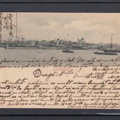 CONSTANTA  PORTUL  SI  VEDEREA  ORASULUI   CLASICA  CIRCULATA 1901, Printata