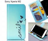 Husa Sony Xperia M2 + stylus, Albastru, Silicon