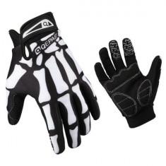 Manusi protectie rezistente la vant, termice, touchscreen, model oase-schelet, marime XL, culoare negru cu alb