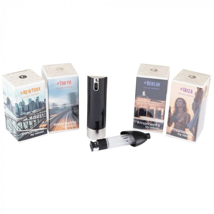 Set 4 mini parfumuri cu dispozitiv mini-spray Moments Reload, 4 x 5 ml