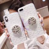 Husa cu Popsocket si pietricele Samsung Galaxy S10 , S10e , S10+ , S10 Plus, Alt model telefon Samsung, Transparent, Silicon