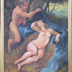 """Pictura nud """"Hera cu un Satir"""", Ulei, Realism"""