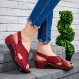 Sandale dama cu platforma rosii Kaye