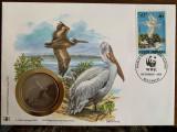 Romania - pasari - pelican - FDC cu medalie, fauna wwf