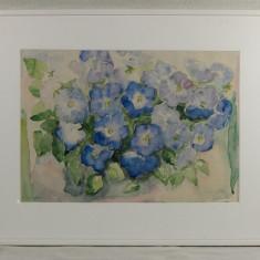 """Tablou natură statică panseluțe albastre, semnat """"Klagergren-86"""""""