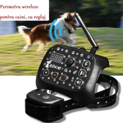 Perimetru pentru caini cu soc electric si reglaj; gard invizibil pentru caini foto