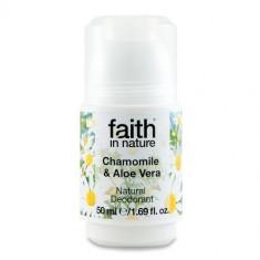 Deodorant roll on natural cu musetel si aloe vera, Faith in Nature, 50 ml