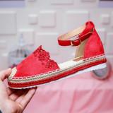 Sandale Lagaly rosii cu talpa joasa -rl