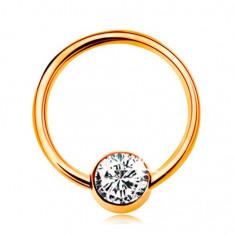 Cumpara ieftin Piercing din aur galben 9K - cerc lucios cu o bilă cu zirconiu transparent, 10 mm