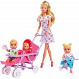 Papusa Simba Steffi Love 29 cm Baby World in Rochie cu Floricele, cu 2 Copii, 1 Bebelus si Accesorii