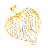 Pandantiv din aur de 14 K - contur de inimă, flăcări din aur alb cu zirconii