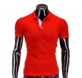 Tricou pentru barbati polo, rosu simplu, logo piept, slim fit, casual - S594