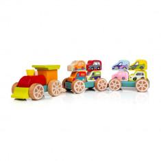 Jucarie din lemn Cubika Trenulet cu Masinute