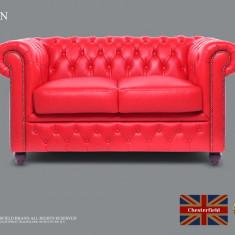 Canapea din piele naturală-Chesterfield Brand -2locuri -Roșu