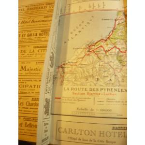 Harta Turistica veche a sectorului Biarritz-Luchon a Comp. Chemin de Fer du Midi