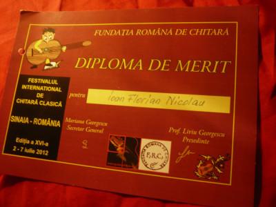 Diploma de Merit - Fundatia Romana de Chitara- Festival International 2012 foto