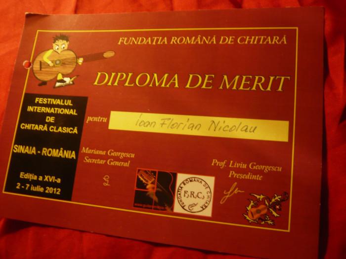 Diploma de Merit - Fundatia Romana de Chitara- Festival International 2012