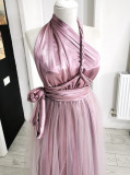 Rochie versatila din satin cu tulle si talie elastica, roz, ACD1022