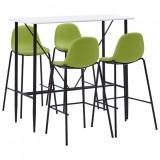 Set mobilier de bar, 5 piese, verde, material textil, vidaXL