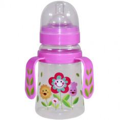 Biberon cu Doua Manere si Gat Larg Baby Care 250 ml Pink Flower