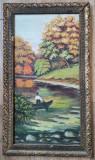 Tablou vechi Peisaj cu pescar pictura ulei pe placaj înrămat 82x46cm, Peisaje, Realism