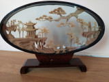 Arta chinezeasca - vitrina casetata decorativa cu sculpturi in lemn de pluta