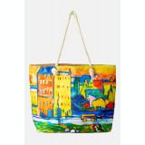Geanta de plaja din material textil, dupa tablou celebru cu case multicolore