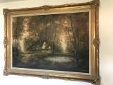 Tablou,pictura belgiana in ulei pe panza ,dimensiuni mari-115 X 156 cm