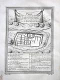 Planul Palatului Regilor Inca din Canar - Ecuador. Tiparitura originala din 1750