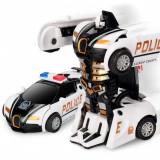 SUPER ROBOT TRANSFORMERS DE POLITIE CU TELECOMANDA R/C,27 CM,CADOU MINUNAT.NOU., Plastic, Unisex