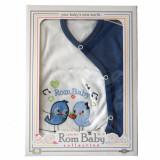 Cumpara ieftin Set nou nascuti 0-3 luni 100% bumbac din 5 piese: pantaloni cu botosel, bluzita cu capse, bavetica, caciulita, manusi, model alb/albastru cu pasarele