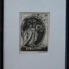 Marcel Chirnoagă (1930-2008) - Ex Libris, Fmilia Pipaș din Baia Mare;, Nonfigurativ, Carbune, Altul