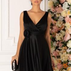 Rochie LaDonna neagra cu gliter si detaliu 3D in talie