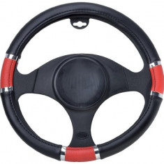Husa Automax pentru Volan 37-39cm, Neagra-Rosie