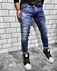 Blugi pentru barbati, albastri, slim fit, conici, casual, skinny, zgarieturi decorative - BR-03 foto