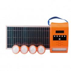 Kit Iluminare LED cu Incarcare Solara Lampa de Perete 4 Becuri Port USB si Radio FM P 2x4 Pp: 8W Evotools 678880