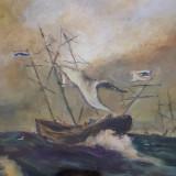 Tablou vechi Furtuna pe mare