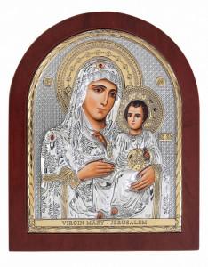 Icoana Maica Domnului de la Ierusalim pe Foita Argint 925 Auriu 15.6x19cm Cod Produs 2464