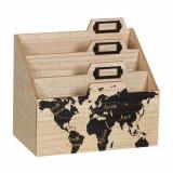 Cumpara ieftin Suport din lemn pentru birou, model Harta lumii, Pufo