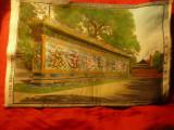 Tablou tesut din matase  cu Zidul Dragonilor China ,dim.=28x19cm