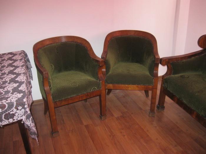Mobila veche Biedermeier originala, canapea si doua fotolii