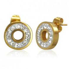 Cercei aurii din oțel - cerc încrustat cu zirconii strălucitoare transparente