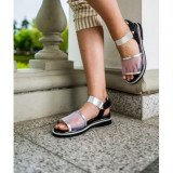 Leather Sandals 40 Metallic silver
