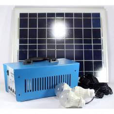 KIT SOLAR PROFESIONAL,PRODUCE CURENT 220V DE LA PANOUL SOLAR,ACUMULATOR,3 BECURI