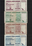 Zimbabwe Set 5 + 25 + 50 + 100 miliarde dollars 2008 special agro-cheque, Africa