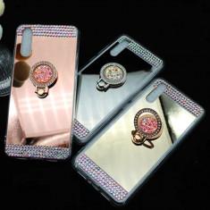 Husa silicon Diamond  cu inel Huawei P9 Lite 2017 / P20 Lite / P20 Pro, Alt model telefon Huawei, Argintiu, Auriu, Roz