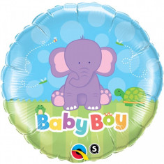 Balon botez baietel Baby Boy Elefant din folie 43cm